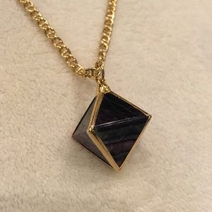 NWOT 24K gold plated stone pendant necklace